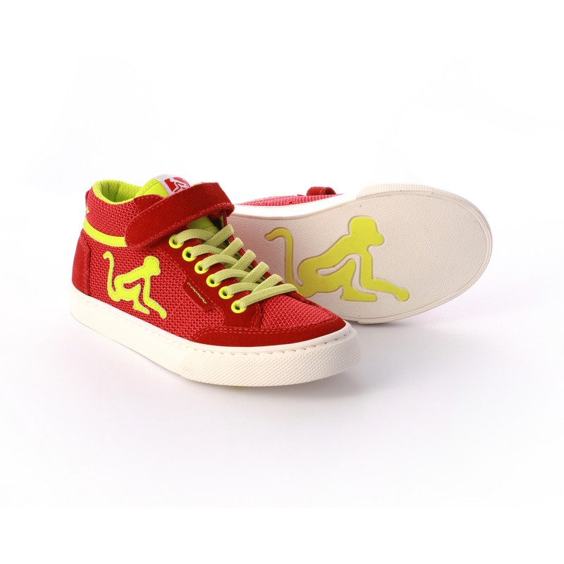 Drunknmunky Boston Mid-Mesh Red-Lime K12